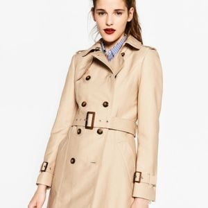 Zara double breasted trench w/ leopard print
